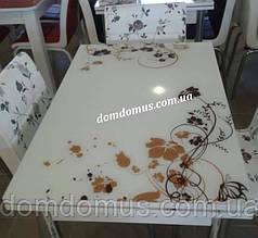 """Комплект обідній меблів """"Кавовий квітка"""" стіл ДСП, гартоване скло + 4 стільця), Mobilgen, Туреччина"""