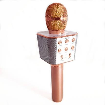 Беспроводной микрофон караоке блютуз WS-1688 Bluetooth Wster розовое золото 152584, фото 2