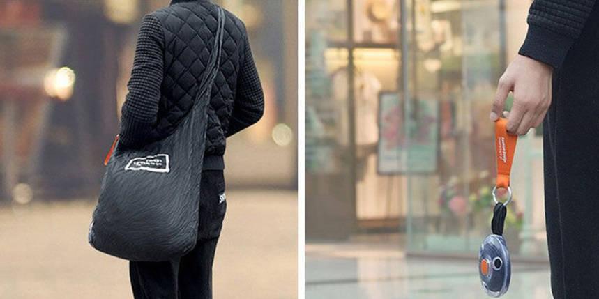 Складная компактная сумка-шоппер Shopping bag to roll up Черная 182390, фото 2