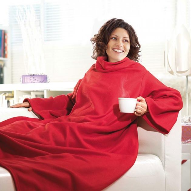 Плед з рукавами ковдру з флісу Snuggie червоний 183279