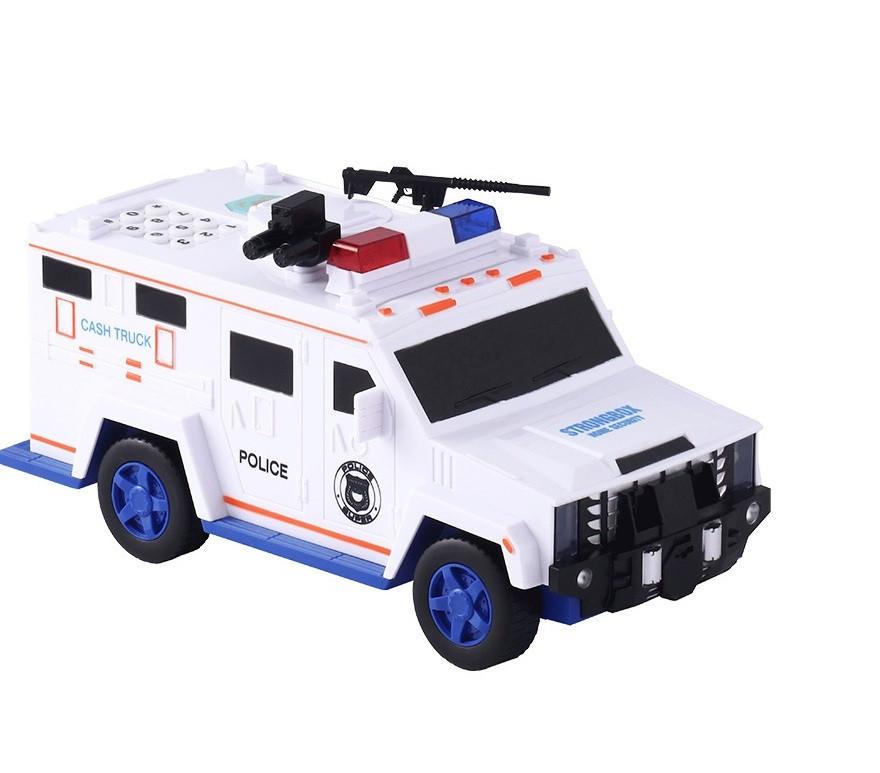 Копилка автомобиль банка с конструктором и кодовым замком для бумажных денег и монет Money Box Toy белый