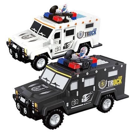 Копилка автомобиль банка с конструктором и кодовым замком для бумажных денег и монет Money Box Toy белый, фото 2