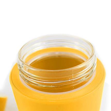 Термокружка из стекла в силиконвой защите с крышкой Peper желтая, фото 2