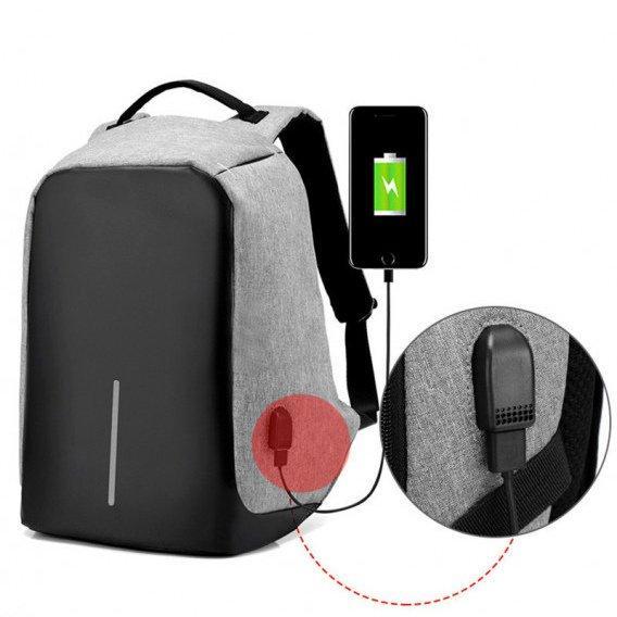 Умный рюкзак антивор Bobby XD Бобби с Usb зарядкой серый 130122