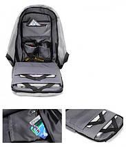Умный рюкзак антивор Bobby XD Бобби с Usb зарядкой серый 130122, фото 3