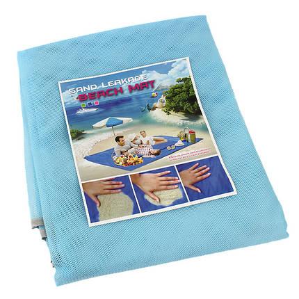 Подстилка для моря Песок 200 х 200 анти-песок Sand Free голубой 131604, фото 2