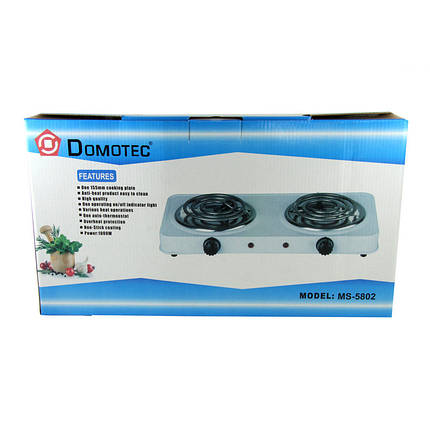Электроплита Domotec MS 5802 Спираль D1001 2 конфорки 153992, фото 2
