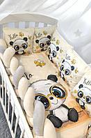 """Детская постель в кроватку с защитой и балдахином """"Панда"""""""