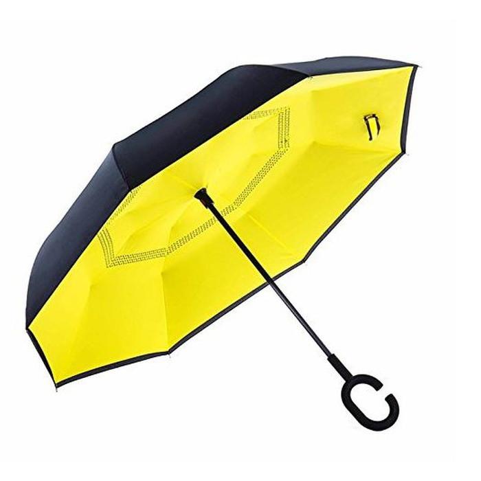 Зонт обратного сложения, антизонт, умный зонт, зонт наоборот Up Brella Жёлтый 151022
