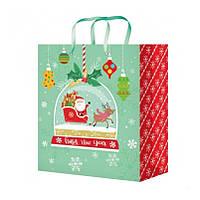 Пакет подарунковий Новорічний 18х23х10 см.