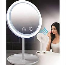 Зеркало настольное косметическое с подсветкой и встроенным вентилятором NuBrilliance Beauty Breeze Mirror, фото 2
