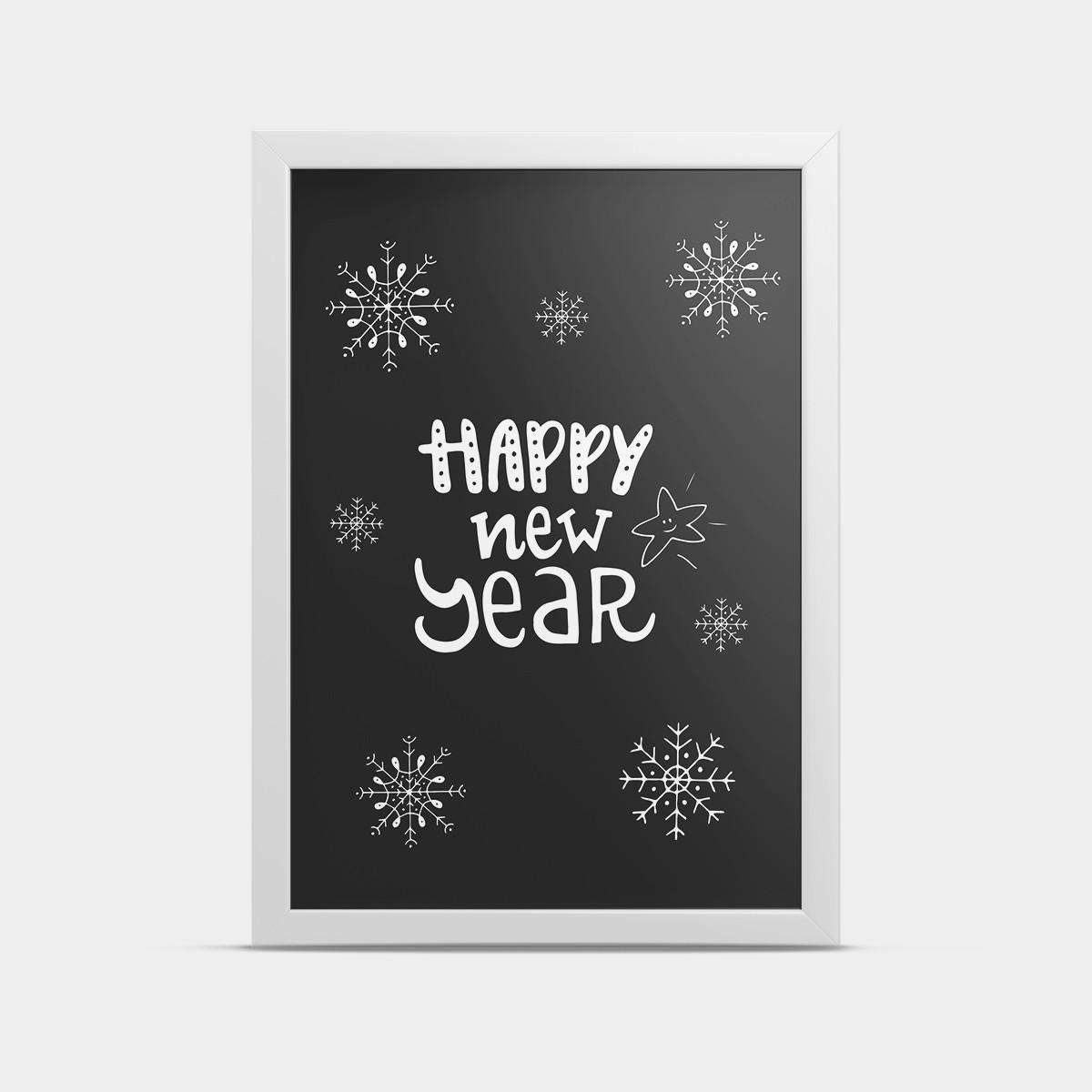 Постер Happy new year Черный 20*30 см