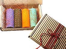 Набір свічок з кольорової вощини 4 штуки ( висота 8.5 см діаметр 3,3 см)