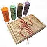 Набір свічок з кольорової вощини 4 штуки ( висота 8.5 см діаметр 3,3 см), фото 2