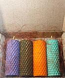 Набір свічок з кольорової вощини 4 штуки ( висота 8.5 см діаметр 3,3 см), фото 3