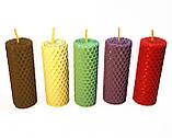Набір свічок з кольорової вощини 4 штуки ( висота 8.5 см діаметр 3,3 см), фото 4