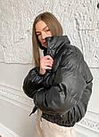 Куртка зимняя короткая из экокожи с воротником стойкой  (р. 42-48) 4001550, фото 9