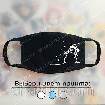 """""""Снеговик"""" черная защитная маска с принтом - ВЫБЕРИТЕ ЦВЕТ"""