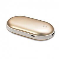 Грелка-повербанк для рук на 5000 mAh Pebble Hand Warmer PowerBank Gold