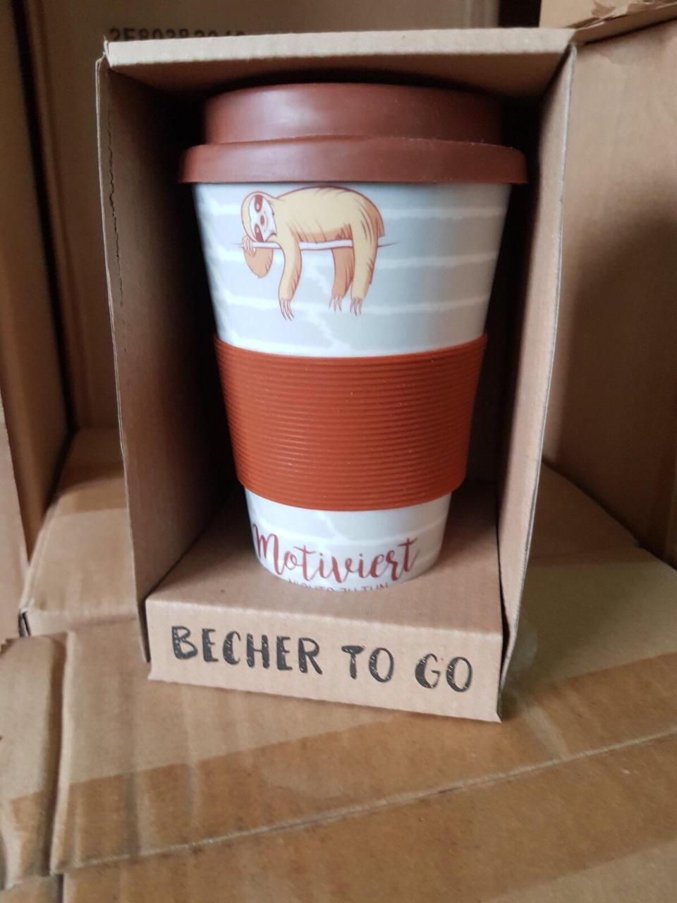 Кофейная кружка to go becher 350ml bambus Sloth