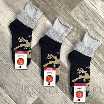 Шкарпетки жіночі махрові х/б без гумки з відворотом Смалій, малюнок 43 тим.синьо - св. сірі, 035004
