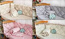 Подушки - бортики из сатина для детской кроватки, люльки