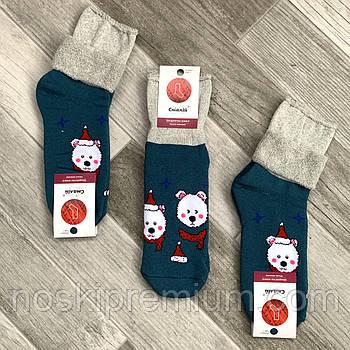 Шкарпетки жіночі махрові х/б без гумки з відворотом Смалій, малюнок 72 тим.бірюзово-бежеві, 035011