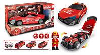 Машина-гараж пожарная с пожарным и тремя машинками специализированной техники со светом и звуком SKL11-278413
