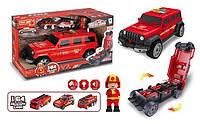 Машина-гараж пожарная с пожарным и тремя машинками специализированной техники со светом и звуком SKL11-278417