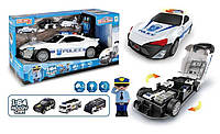 Машина-гараж полицейская с полицейским и тремя машинками оперативной техники со светом и звуком SKL11-278412