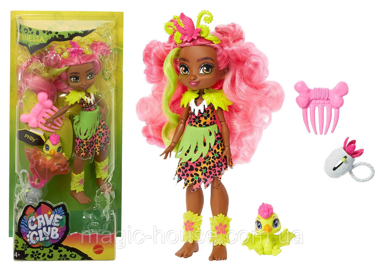 Лялька Фернесса і Птилли птеродактиль Печерний клуб 25 см Cave Club Fernessa Doll Mattel