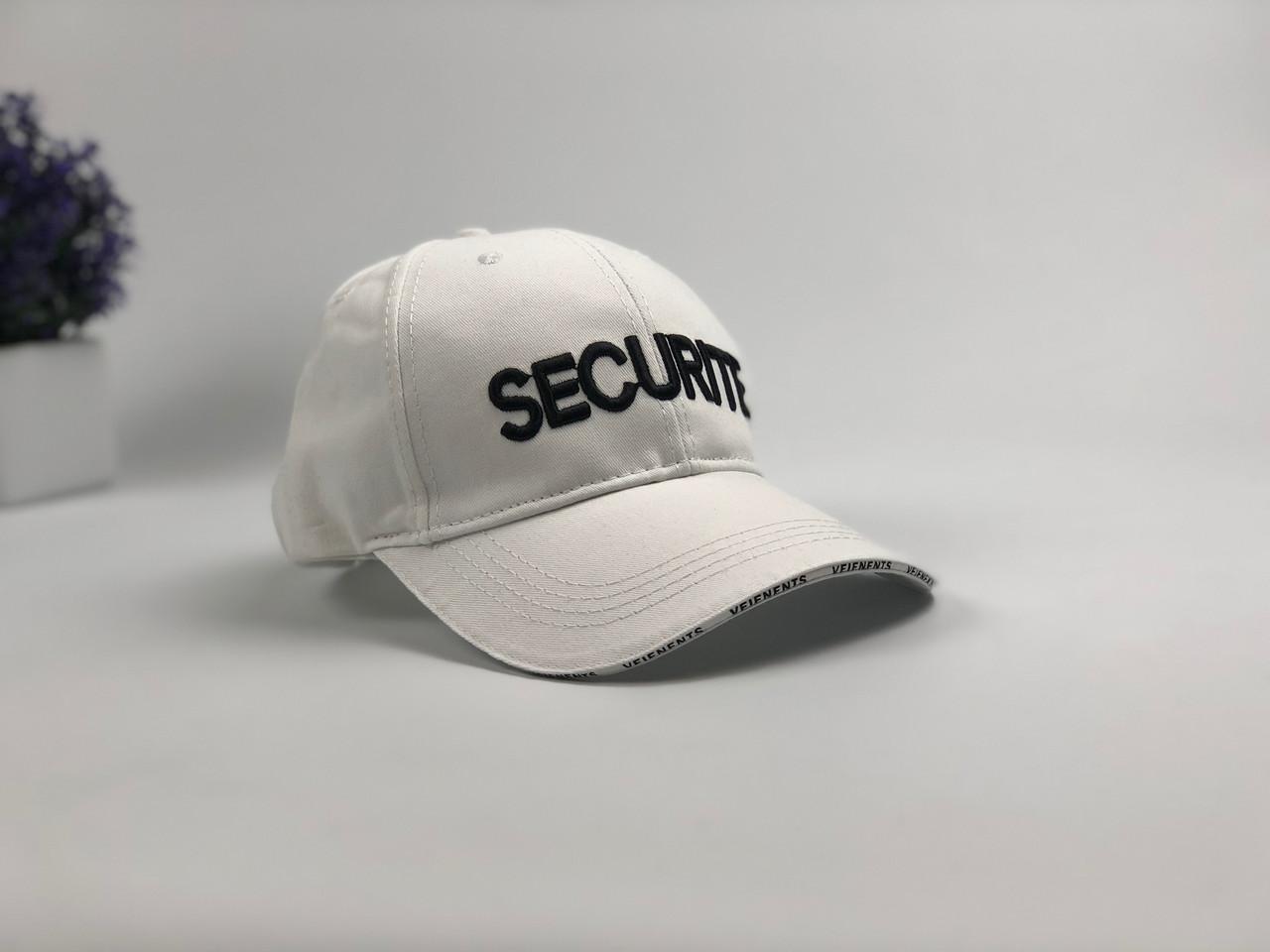 Кепка Бейсболка Мужская Женская Vetements с надписью Securite Белая
