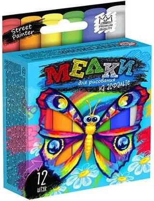 Мел для рисования на асфальте тонкий 12 шт MEL-02-03U Детские мелки разноцветные яркие!