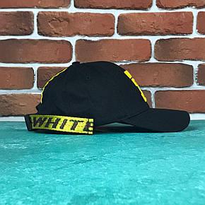 Кепка Бейсболка Мужская Женская Off White Офф Вайт Belt с поясом Черная с золотым лого, фото 2