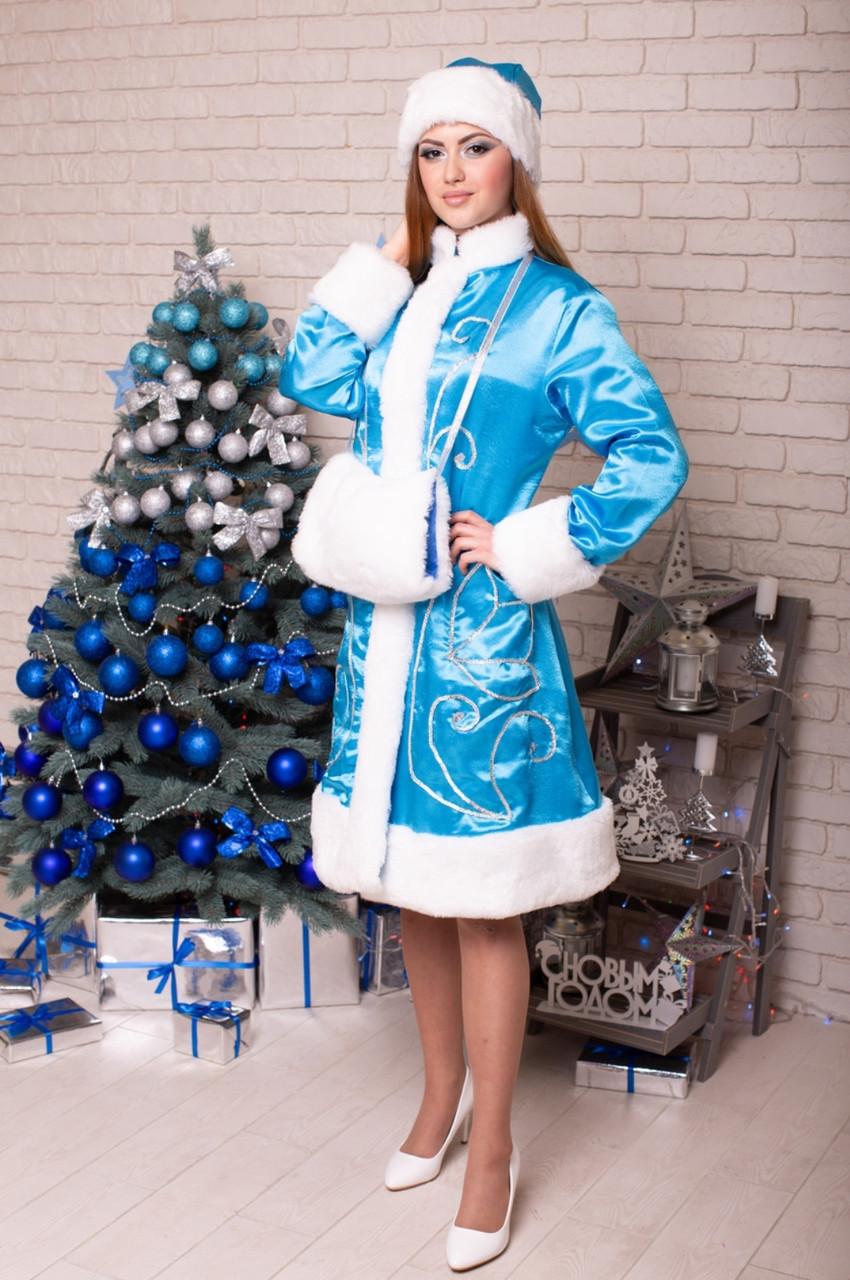 Костюм Снегурочки голубой с серебристым узором