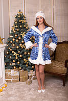 Костюм Снегурочки жаккард голубой, фото 1