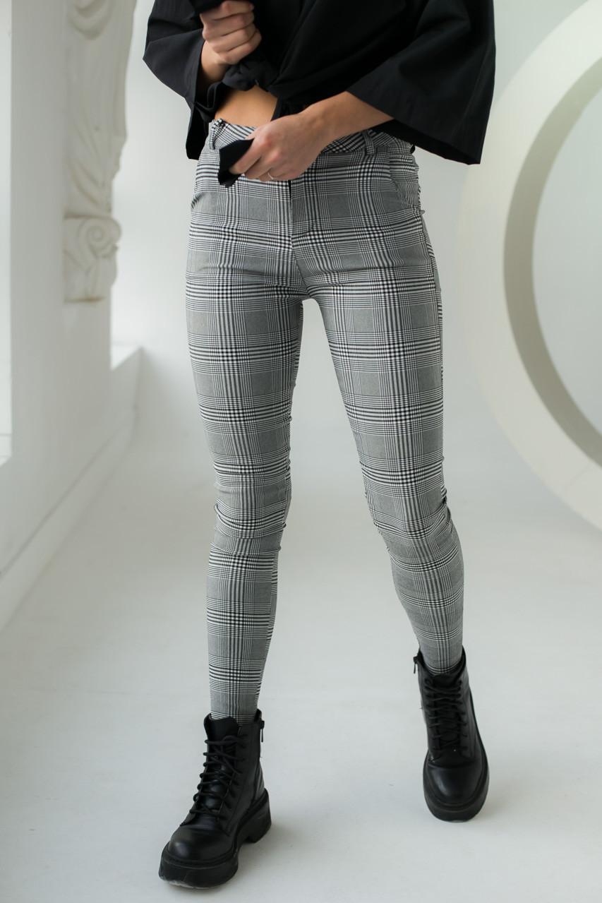 Классические штаны в клетку MX - серый цвет, L (есть размеры)