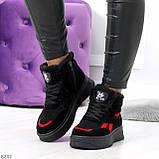 Высокие черные зимние женские замшевые кроссовки с красными вставками 36-23см, фото 8