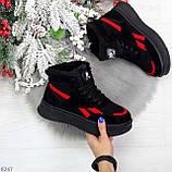 Высокие черные зимние женские замшевые кроссовки с красными вставками 36-23см, фото 9