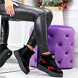 Высокие черные зимние женские замшевые кроссовки с красными вставками 36-23см, фото 10
