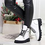 Нарядные белые зимние женские ботинки на черной шнуровке 38-24см, фото 7