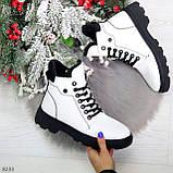 Нарядные белые зимние женские ботинки на черной шнуровке 38-24см, фото 10
