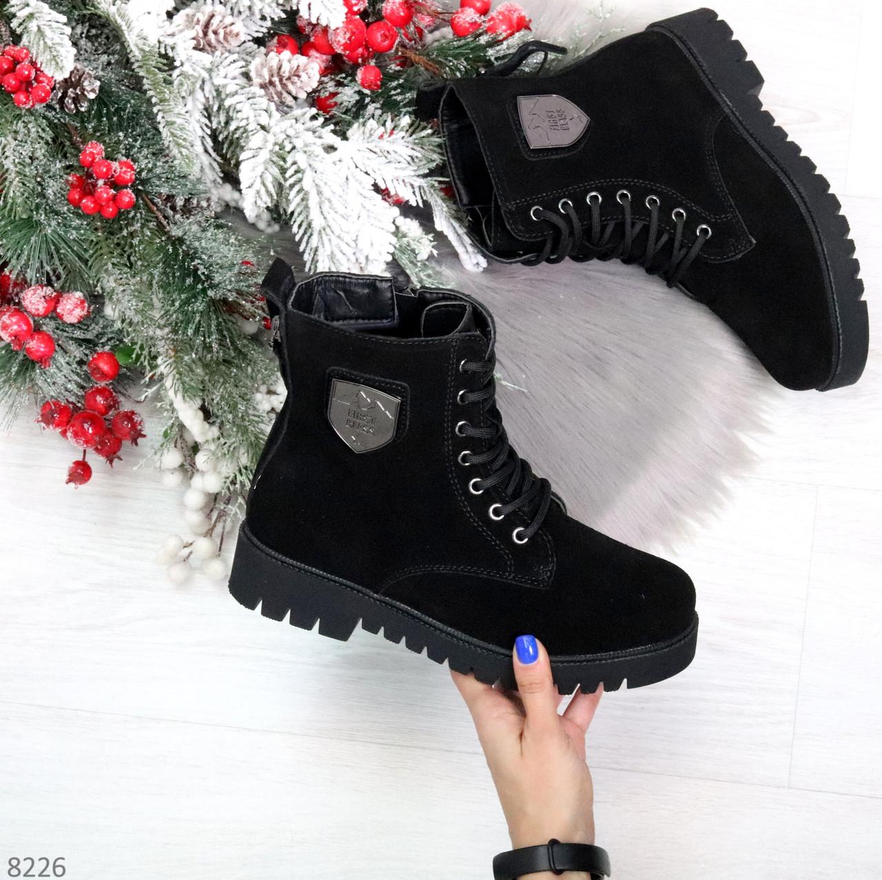 Трендовые повседневные черные женские ботинки из натуральной замши 38-25см
