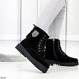 Трендовые повседневные черные женские ботинки из натуральной замши 38-25см, фото 2