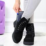 Трендовые повседневные черные женские ботинки из натуральной замши 38-25см, фото 3