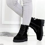Трендовые повседневные черные женские ботинки из натуральной замши 38-25см, фото 4