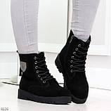 Трендовые повседневные черные женские ботинки из натуральной замши 38-25см, фото 5