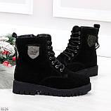 Трендовые повседневные черные женские ботинки из натуральной замши 38-25см, фото 6