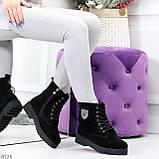 Трендовые повседневные черные женские ботинки из натуральной замши 38-25см, фото 7
