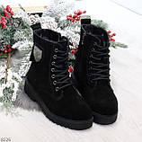 Трендовые повседневные черные женские ботинки из натуральной замши 38-25см, фото 8